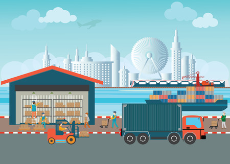 forklifts: Workers of warehouse load boxes and pallet to stacks using forklifts, Industrial warehouse with trucks and cargo ships, logistics vector illustration.
