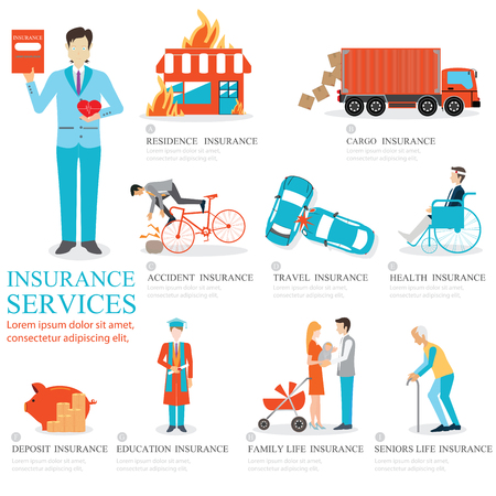 Info graphic of Business insurance services, character people,family insurance, home insurance, travel insurance, education insurance, cargo insurance, seniors life insurance, deposit insurance and health insurance, vector illustration. Иллюстрация