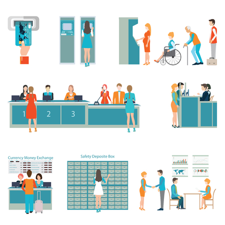Mensen in een bank interieur, Banking business concept, Queue en toonbank bediening, ATM en het houden van geld, geïsoleerd op wit, vlakke pictogrammen set, vector illustratie.