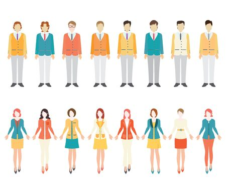 pant: Set of business people isolated on white background, cartoon flat design vector illustration.