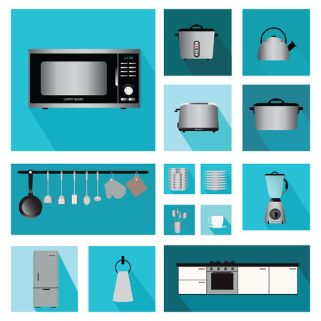 kitchen counter: Set of Interior kitchen with kitchen shelves and cooking utensils, equipment on counter in tiles patterned background, vector illustration.