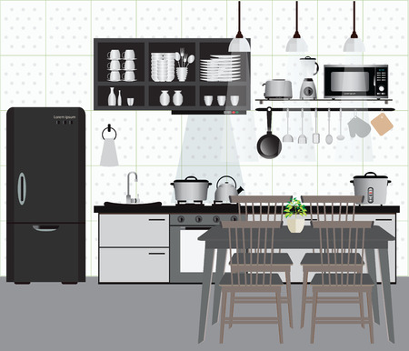 kitchen counter: Interior kitchen with kitchen shelves and cooking utensils, equipment on counter in tiles patterned background, vector illustration.
