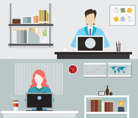 hard day at the office: Office people working, stress on work,Labor Day, Office life,  business man ,business woman, Business situation, People in action, vector illustration.