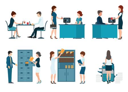 ejecutiva en oficina: Empleado de oficina, la gente oficina de trabajo aislado en fondo blanco, la gente de negocios ilustración vectorial.