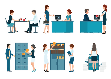 file: Office worker, office people working isolated on white background , business people vector illustration. Illustration