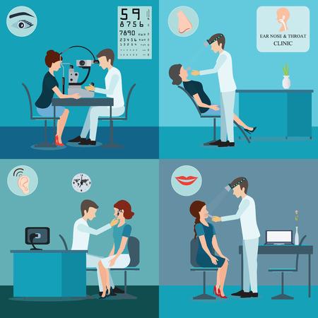 medico caricatura: Paciente y médico Conjunto, de oído, nariz y garganta clínica, la asistencia sanitaria ilustración vectorial conceptual.