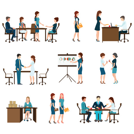 Business meeting, office life, teamwork, planning, conference, brainstorming in flat style, conceptual vector illustration. Vectores