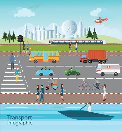 city traffic: Set of transportation and city traffic info graphics elements, cartoon flat design logistic Vector illustration.