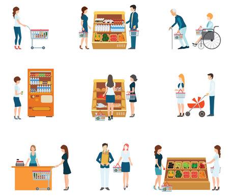 mujer en el supermercado: La gente en supermercado Tienda de comestibles, supermercado, la gente comercial, supermercado familia, ilustración vectorial.