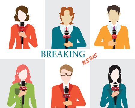 world news: Journalism male and female reporters holding microphones, Live news template, Live broadcast, world news, conceptual vector illustration.