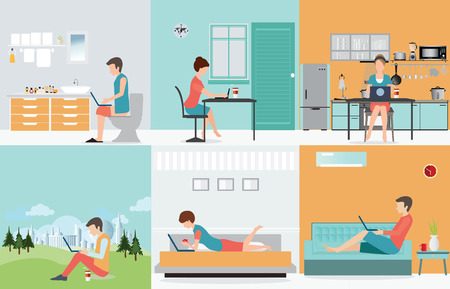 trabjando en casa: conjunto independiente con el vario diseño personaje de dibujos animados de trabajo en casa, trabajar desde casa, independiente, oficina en casa, trabajo en casa, la libertad, la ilustración vectorial conceptual.