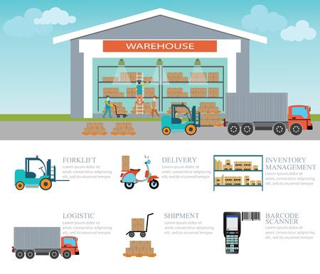 carretillas almacen: Infografía de cajas de almacenamiento de carga y palet, Nave industrial con un montacargas, camiones, motos de logística, entrega y código de barras escáner, ilustración vectorial