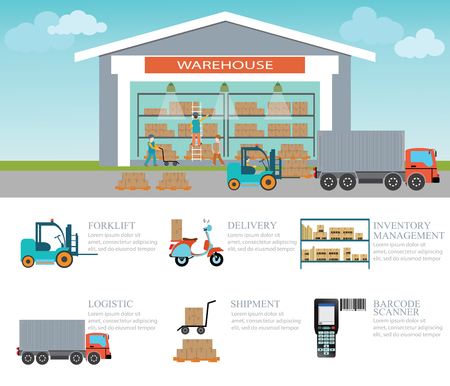 Infographic of warehouse load boxes and pallet , Industrial warehouse with forklift, trucks  logistics, scooter, delivery and barcode scanner,vector illustration Illustration