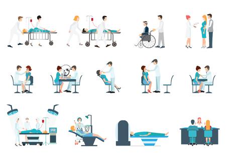 Medisch personeel en de patiënten verschillende situaties is gevestigd in hoapital, kliniek, mensen stripfiguur geïsoleerd op wit, gezondheidszorg conceptuele vector illustratie. Vector Illustratie