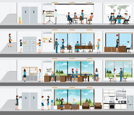 La gente en la interrelación del edificio, edificio de oficinas Inter, entre oficinas de personas, sala de escritorio de oficina, espacio de oficina, sala de reunión, conferencia ilustración vectorial habitación. Ilustración de vector