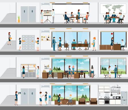 Mensen in het interieur van het gebouw, Interieur kantoorgebouw, kantoor interieur personen, kamer bureau, kantoorruimte, vergaderruimte, conferentieruimte vector illustratie. Vector Illustratie
