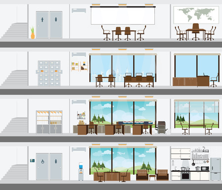 People in the interior of the building, Interior office building, room office desk, office space, meeting room,  conference room vector illustration.