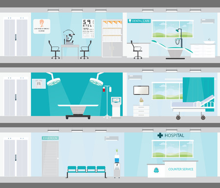 Info graphic of Medical services in hospitals, interior building, dental care, emergency, ear nose throat, health care conceptual vector illustration. Vectores