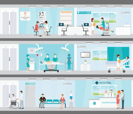 Info graphic of Medical services in hospitals, Patient And Doctor, interior building, dental care, emergency, ear nose throat, health care conceptual vector illustration.