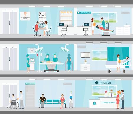 Info grafica dei servizi medici negli ospedali, paziente e medico, edilizia di interni, cure dentistiche, di emergenza, orecchio naso gola, l'assistenza sanitaria concettuale illustrazione vettoriale.