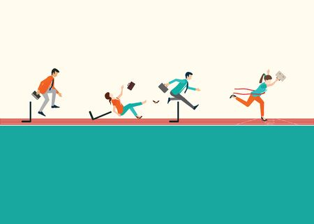 Business people running  and jumping hurdles on red rubber track, business competition, conceptual vector illustration. Stock Illustratie