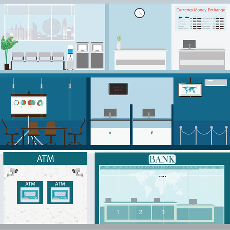 client: Bank building exterior and interior counter desk, cashier, consulting, money currency exchange, financial services, ATM, safety deposit box with CCTV security camera, banking vector illustration.