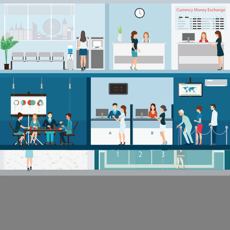 bank interior: People in a bank interior, Bank building exterior and interior counter desk, cashier, consulting, money currency exchange, financial services, ATM with CCTV security camera, banking vector illustration.