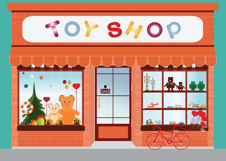 Toy shop window display, exterior building, kids toys vector illustration. Vettoriali