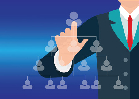 high society: Businessman hand showing human icon flow chart on new modern computer, conceptual vector illustration.