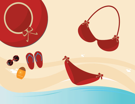 bikini top: Red fashion female accessories, red bikini, sunglasses, hat and sunblock  on sand background, Top view holiday Beach