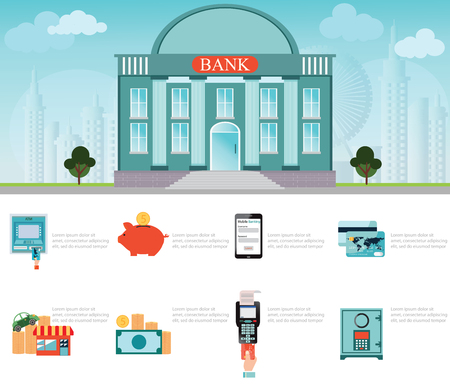 coin box: Bank building exterior on Cityscape, Symbols of Business and Finance, money, safety box, credit card, piggy bank, coin, mobile banking, ATM and keeping money, payment concept Illustration