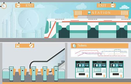 Subway railway interior, Train ticket vending machines, Railway Map, Entrance of railway station, transportation