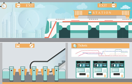 Subway railway interior, Train ticket vending machines, Railway Map, Entrance of railway station, transportation