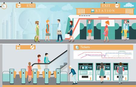 piattaforma della stazione ferroviaria metropolitana con persone che viaggiano, biglietto del treno distributori automatici, ferroviario, Mappa, ingresso della stazione ferroviaria Vettoriali