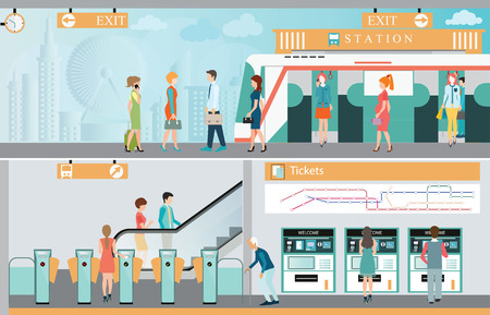 people traveling: Subway train station platform with people traveling, Train ticket vending machines, Railway Map, Entrance of railway station Illustration