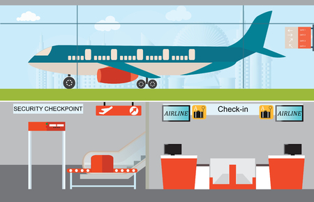 check in: Airport infographic, check in counter, security checkpoint, airplane transportation, business travel vector illustration. Illustration