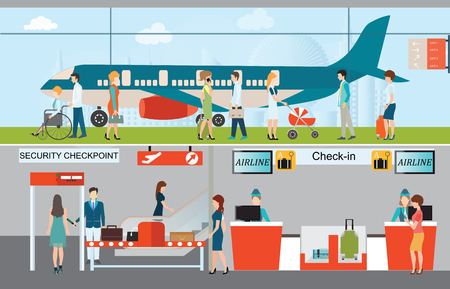 through travel: Business people in airport terminal, check in counter, security checkpoint, airplane transportation, business travel vector illustration.