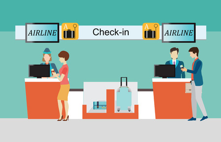 through travel: Business people checking in counter airplane,  airport terminal, transportation business travel vector illustration.