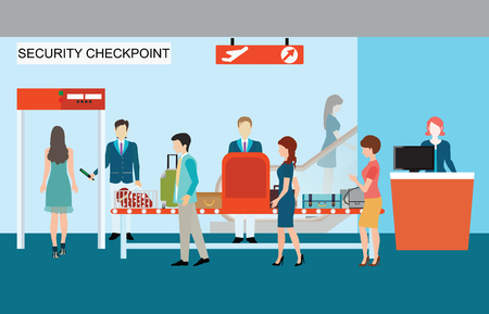 through travel: Business people in airport terminal, security check, checkpoint, security, security gate, airport security, business travel vector illustration. Illustration