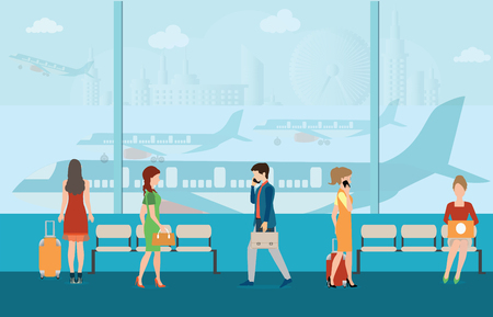 Business people in airport terminal. travel concept,Traveler and departure, transportation passenger, luggage and baggage