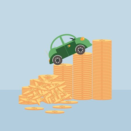 mount price: Small car on coin stacks,  climbing up a money chart , conceptual illustration.