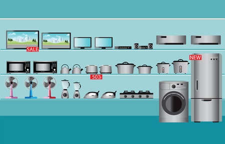 Electronics store interior, laptops, television, Computers, fan, Toaster, refrigerator, washing machine, kettle, rice cooker, air conditioner,  Iron and blender fruit on shelf Stock Illustratie