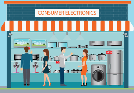 consumer: People in consumer electronics store