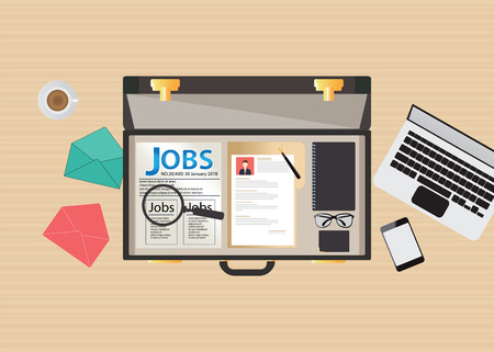seeker: Job search icon design, open suitcase with Job search, laptop, glasses, smartphone, Magnifying glass and cup of coffee, conceptual illustration.