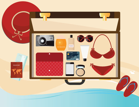 sunblock: Summer holiday with fashion female accessories, red bikini, sunglasses, hat and sunblock in suitcase