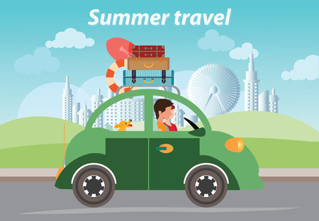 family vacation: Summer travel design,Family vacation, Travel by car with Luggage on Roof, City Background
