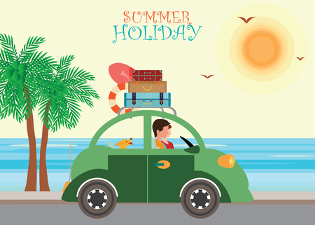 family vacation: Summer travel design,Family vacation, Travel by car with Luggage on Roof, beach background Illustration