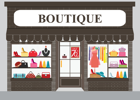 Clothing store building and interior with products on shelves, Shopping fashion, bags, shoes, accessories on sale, shopping illustration.