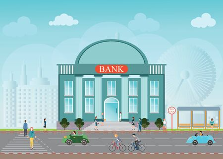 skylines: Bank building exterior in city space skylines behind background, bus station, people walking on a crosswalk conceptual illustration design.