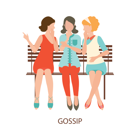 gossiping: Cartoon character of women gossiping, women talking, women chatting, gossip girl, gossip old woman, people cheering, whisper, office gossip, secret,conceptual illustration.
